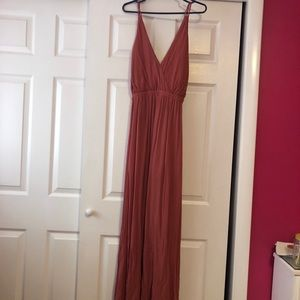 Lost in paradise rusty rose colored maxi dress